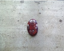 Jasper Cabochon, cab, 29mm x 18mm, cabochon, red black and white, japser cab, jasper cabochon, oval cab, ring size stone