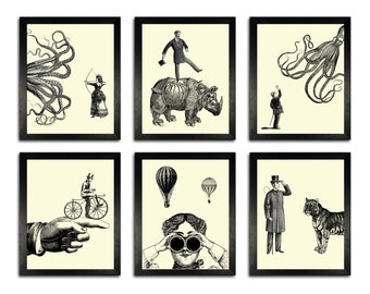 POSTER SET - Six Victorian Adventures Art Prints, Funny Home Office Decor, Anniversary Gift, Illustration Prints, Simplistic Decor, Man Gift