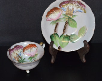 Antique Cup & Saucer Set Occupied Japan Raised Gilt Hand Painted Footed Teacup Matching Saucer Trimont China Mid Century Decor