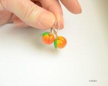 Peach Earrings, Polymer Clay Peach Earrings, Polymer Clay Fruit, Earrings, Mini Fruit Earrings, Fruit Jewelry