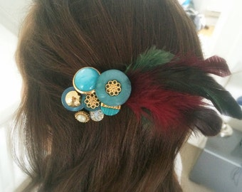 Vintage Button Headpiece: 'Tiffany Blue Feather' (Hairclip)