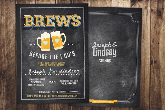 Coed bridal shower invitation Beer bridal shower invitation