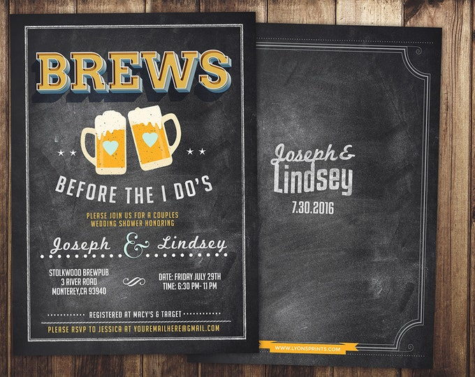 Coed bridal shower invitation- Beer bridal shower invitation- couples bridal shower - bridal shower- Beer and BBQ, love is brewing