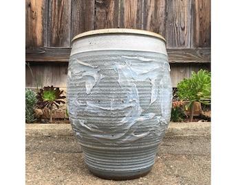 Mid Century Modern Vintage 1960's Bob Kinzie for Affiliated Craftsmen textured stoneware planter pot