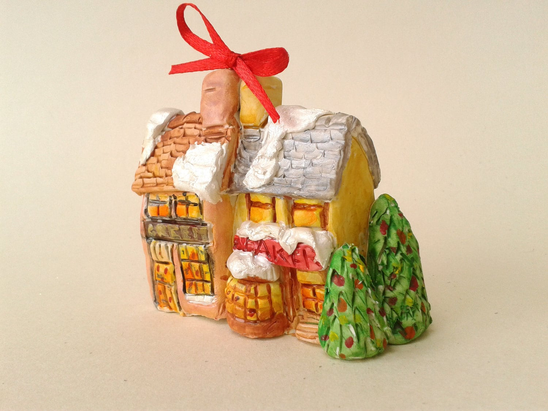 Polymer clay christmas tree ornament festive holiday