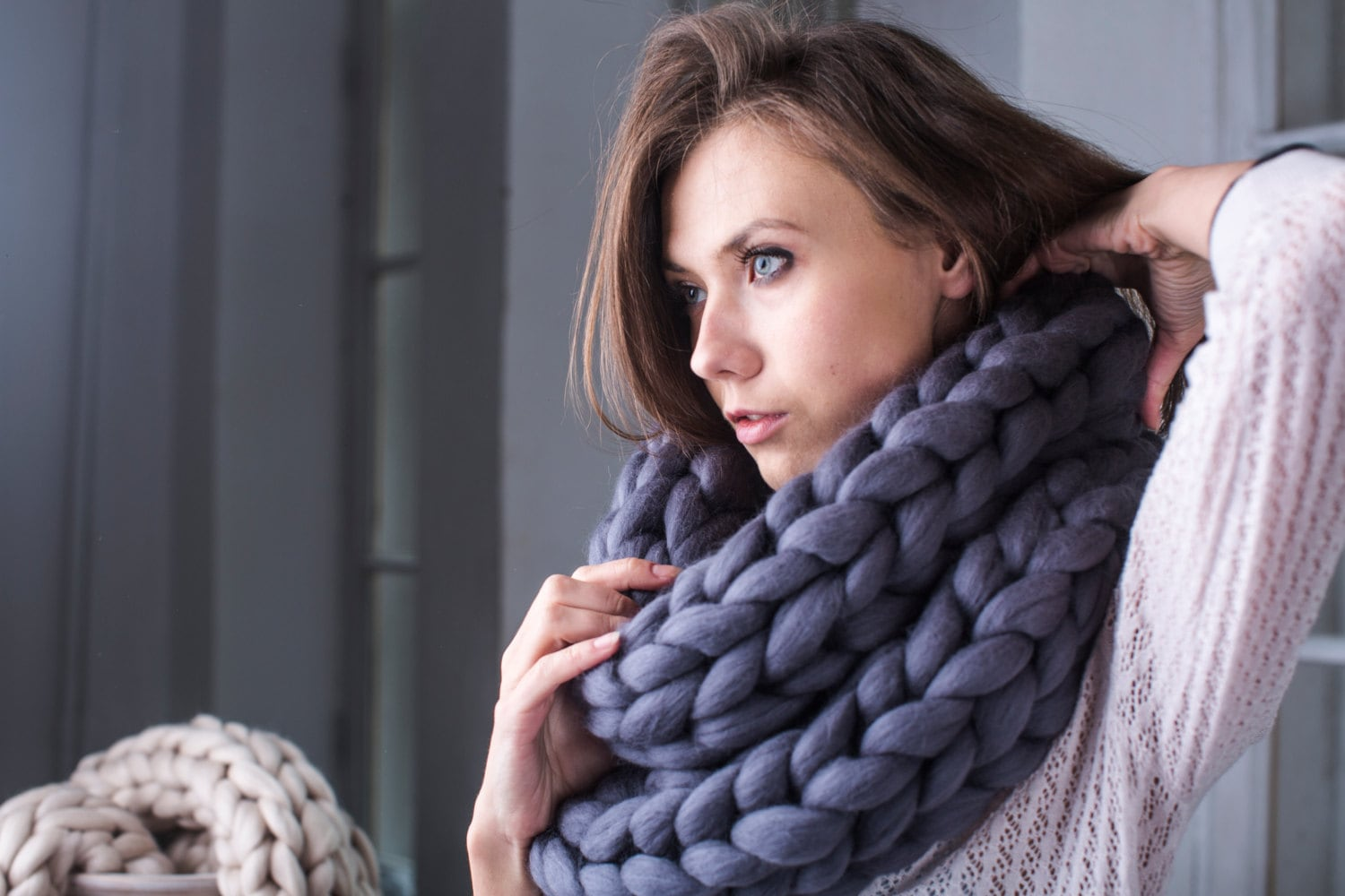 Knitting Patterns For Big Scarves : Super Chunky infinity scarf knit scarf Super bulky scarf