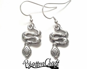 Silver Snake Earrings - Snake Earrings - Silver Reptile Earrings - Reptile Earrings - Snake Jewelry