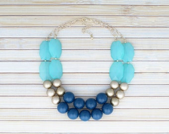 Ombre Large Bead Necklace - Graduated Colors Adjustable Big Faceted Bubble Necklace - Aqua and Blue Summer Fashion Party Affordable Jewelry