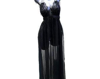 Black Silk Chiffon gown with embroidered mesh cups - Vintage Inspired 1970's -  Made to Order
