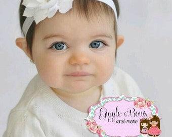 White baby headband, white headband baby, white headband, baptism headband, christening headband, Valentine headband, baby first Valentine