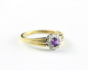Amethyst and diamond ring in 9 carat gold vintage for her UK