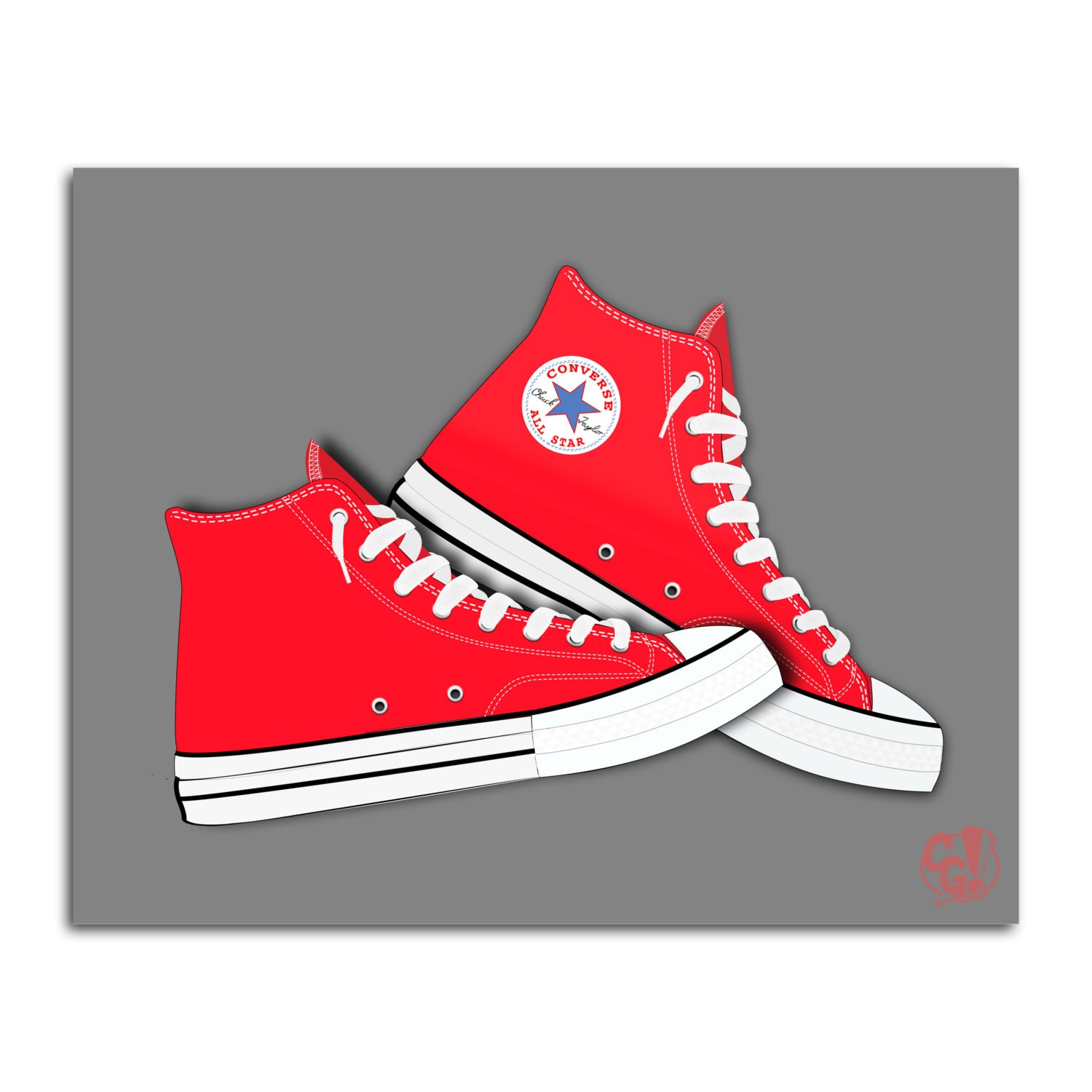 red converse shoes graphic illustration print iconic hi top