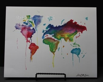 11x8.5 Watercolor Print World Globe