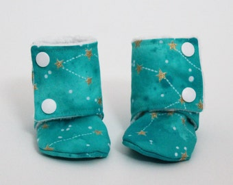 Children slippers, Stay-on booties, Constellations, Minky, Cotton, Toddler boots, Children shoes, Warm and Cozy, Shower gift idea, Winter