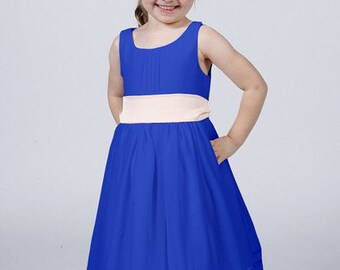 Royal Blue Flower Girl Dress with White, Cream or Blue Sash by Matchimony