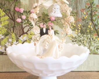 Milk Glass Bowl Wedding Centerpiece Candy Dish White Bowl Large Bowl Wedding Bowl Dessert Table Candy Bar Footed Bowl Pedestal Bowl Vintage