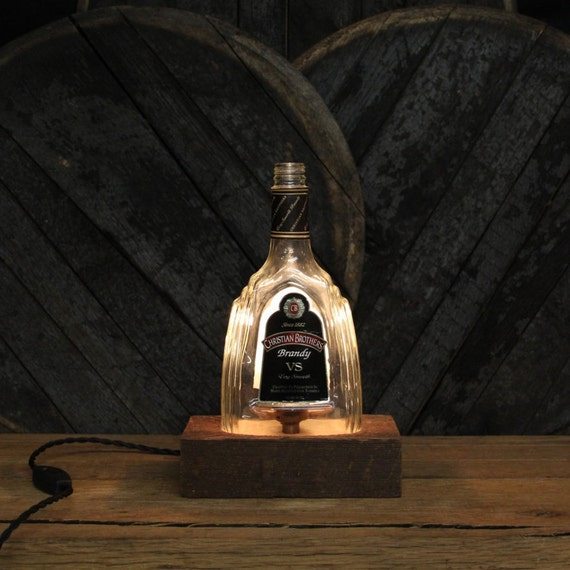 Handmade Recycled Christian Brothers Brandy Bottle Lamp Features Reclaimed Wood Base, Edison Bulb, Twisted Cloth Wire, In line Switch & Plug