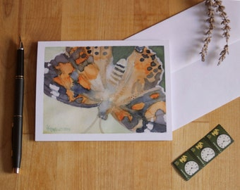 Painted Lady Butterfly Note Card Blank Watercolor Notecard Invitation Thank You Birthday Anniversary Greeting Card Watercolour Artwork