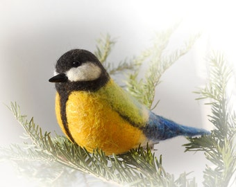 Great Tit (The handcrafted felted action figure of the beautiful bird)