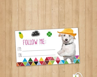 Follow Me Card - Instant Download- calling card for social media - Cute Follow Me dog helps you spread the word - Social Media Business Card