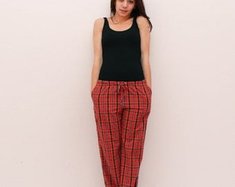 Red plaid pajama trousers, wide leg pants, lounge women pants, red pants, women pajama, women pyjamas, home pants,
