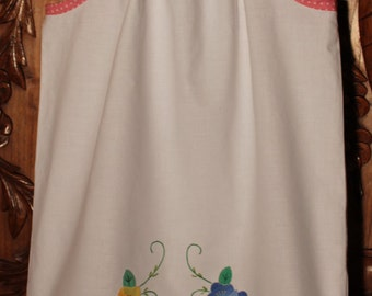 Child's Pillowcase Dress Made from Vintage Embroidered/Appliqued Pillowcase
