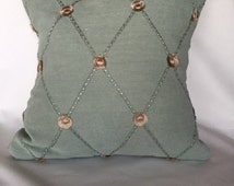 Green blue hint with cream and tan small flowers with stitching