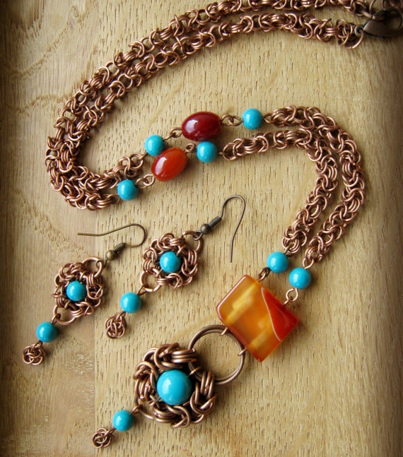 Handmade Bohemian Style Jewelry Copper Necklace And Earrings