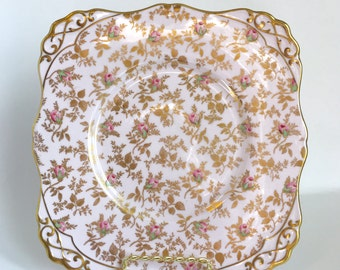 Royal Tuscan Pink and Gold Chintz Square Plate - Mix and Match Salad Plate - Mismatced Plates - Shabby Chic Home Decor