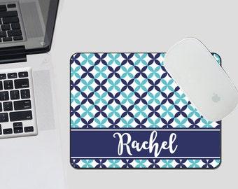 Blue Preppy Mouse Pad - Monogram Mouse Pad - Personalized MousePad -Quatrefoil Mouse Pad - CoWorker Gift - Teacher Gift - Preppy