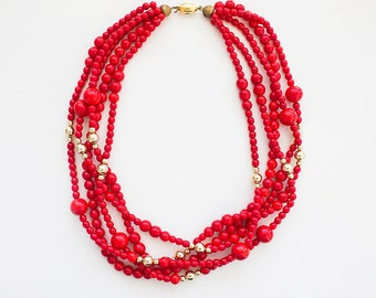 Vintage Red Beaded Necklace, Red Gold Necklace, Red Beaded Choker, 80s Beaded Jewelry, Red 5 Strand Chocker