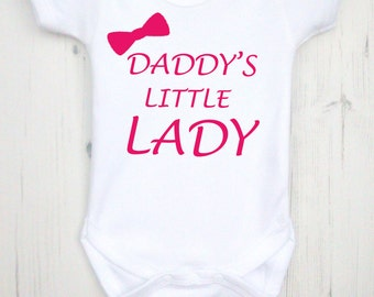 Daddy's little lady bodysuit. Printed lovingly by hand on 100% cotton.