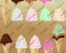 Ice Cream Clip Art 18 Ice Cream Cones Clipart Make Your Own Ice Cream Digital Scrapbooking Elements - Personal and Commercial Use