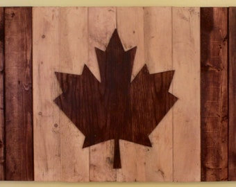 Rustic Wooden Canadian Flag