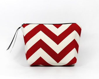 Red and White Chevron Zipper Pouch