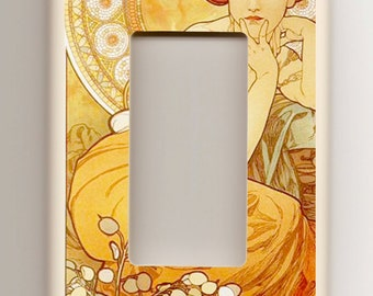 "Alphonse Mucha ""Topaz"" Art Nouveau  - Single Rocker Light Switch Plate - Orange, Topaz"