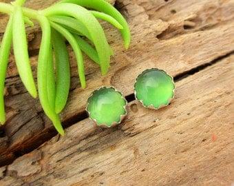 Chalcedony Stud Earrings, Green Cabochon Earrings in Gold or Silver, 6mm