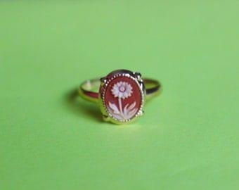 Tiny Carnelian Sunflower Cameo Ring