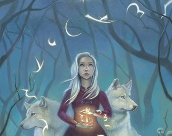 "Girl with Wolves Art, 11x17 Magical Forest Painting, White Hair Witch Fine Art Print,  ""Pathfinder"""