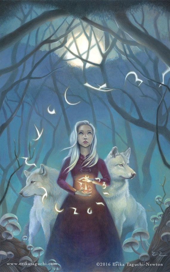 "Girl with Wolves Art, 9X12 Magical Forest Painting, White Hair Witch Fine Art Print,  ""Pathfinder"""
