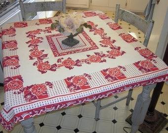 Vintage Tablecloth Beautiful Burgundy Dahlias Retro Kitchen