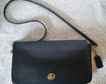 COACH Vintage Black Leather, Med-Large, Satchel Crossbody Messenger Tote Purse Handbag made in USA