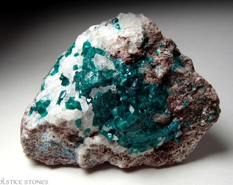 Large Dioptase Cluster on Matrix with Shattuckite // Heart & Third Eye Chakra // Crystal Healing // Mineral Specimen