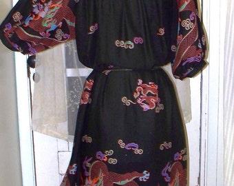 1970s bohemian dragon print dress