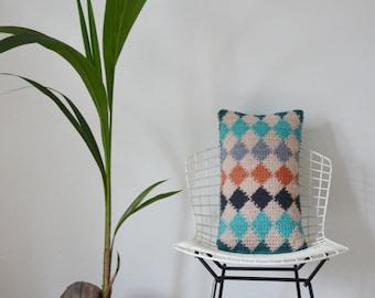 wood & wool harlequin pillow