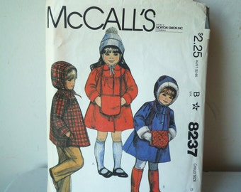 80s Childs Size 5 McCalls Sewing Pattern 8237 Coat Jacket Muff UnCut