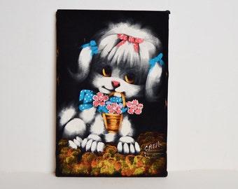 Vintage 60s MOD Poodle Painting on Velvet / 1960s Big Eye Kawaii Poodle Puppy Portrait
