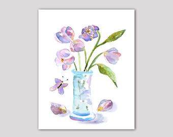 flower watercolor print, tulip art, amethyst art, bathroom wall art, purple, teal, tulips print, amethyst decor, turquoise