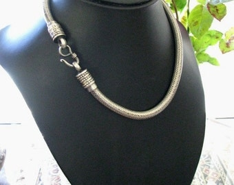 """Vintage Indian Snake Chain Necklace, 6mm, Genuine, Rajasthan, Heavy, Solid Round High Grade Silver, Fine Weave,  159.2 Grams,18 1/2"""" (47cm)"""