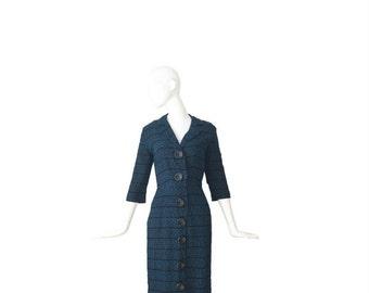1940s Dress • 40s Fall Winter Dress • Medium Large M L
